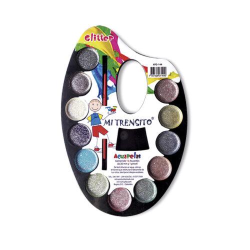 Acuarela Escarchada X12 Colores + Pincel